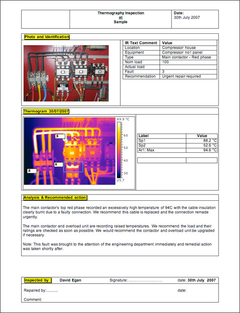 Thermography report
